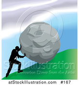 Vector Illustration of a Strong Business Man Pushing a Boulder up a Hill by AtStockIllustration