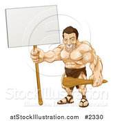 Vector Illustration of a Strong Caveman Holding a Sign by AtStockIllustration