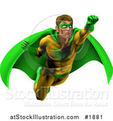 Vector Illustration of a Strong Male Super Hero Flying in a Green and Yellow Suit by AtStockIllustration