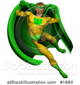 Vector Illustration of a Strong Male Super Hero Jumping in a Green and Yellow Suit by AtStockIllustration