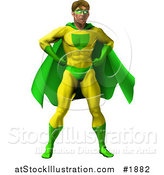 Vector Illustration of a Strong Male Super Hero Standing in a Green and Yellow Suit by AtStockIllustration
