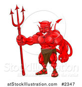 Vector Illustration of a Strong Red Devil Standing with a Pitchfork by AtStockIllustration
