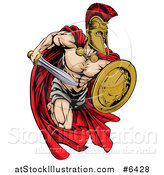 Vector Illustration of a Strong Spartan Trojan Warrior Mascot Running with a Sword and Shield by AtStockIllustration