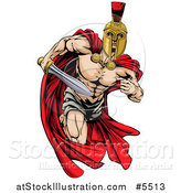 Vector Illustration of a Strong Spartan Trojan Warrior Mascot Running with a Sword by AtStockIllustration