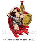 Vector Illustration of a Strong Spartan Trojan Warrior Mascot Sprinting with a Sword and Shield by AtStockIllustration