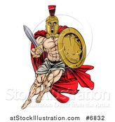 Vector Illustration of a Strong Spartan Trojan Warrior Mascot with a Cape, Running with a Sword and Shield by AtStockIllustration