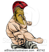 Vector Illustration of a Strong Spartan Warrior Mascot Punching by AtStockIllustration