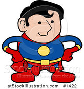 Vector Illustration of a Strong Super Hero Man in a Red, Yellow and Blue Uniform, Standing with His Hands on His Hips by AtStockIllustration