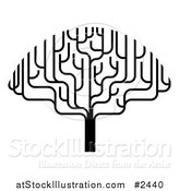 Vector Illustration of a Stylized Black and White Bare Tree by AtStockIllustration