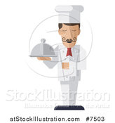 Vector Illustration of a Stylized Male Chef with a Curling Mustache, Standing with a Napkin Draped over His Arm and a Cloche Platter in Hand by AtStockIllustration
