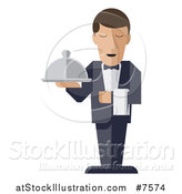 Vector Illustration of a Stylized Male Waiter with a Curling Mustache, Standing with a Napkin Draped over His Arm and a Cloche Platter in Hand by AtStockIllustration