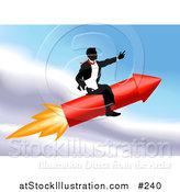 Vector Illustration of a Successful Businessman Riding a Rocket Through the Sky by AtStockIllustration