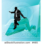 Vector Illustration of a Successful Businessman Riding on a Blue Arrow As Revenue Increases by AtStockIllustration