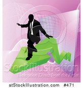 Vector Illustration of a Successful Businessman Riding on a Green Arrow As Revenue Increases by AtStockIllustration