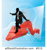 Vector Illustration of a Successful Businessman Riding on a Red Arrow As Revenue Increases by AtStockIllustration