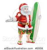 Vector Illustration of a Summer Santa with Shorts Sandals and a Surf Board by AtStockIllustration