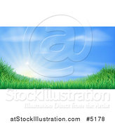 Vector Illustration of a Sun Rising over a Grassy Landscape Against a Blue Sky by AtStockIllustration