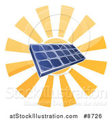 Vector Illustration of a Sun Shining Behind a Blue Solar Panel Photovoltaics Cell by AtStockIllustration