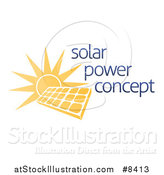 Vector Illustration of a Sun Shining Behind a Solar Panel Photovoltaics Cell and Sample Text by AtStockIllustration