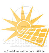 Vector Illustration of a Sun Shining Behind a Solar Panel Photovoltaics Cell by AtStockIllustration