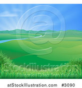 Vector Illustration of a Sun Shining over a Spring Time Landscape with Rolling Hills and a River by AtStockIllustration