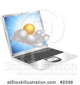 Vector Illustration of a Sunny Weather Cloud Emerging from a Laptop by AtStockIllustration
