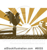 Vector Illustration of a Sunrise over a Brown Farm House with a Crowing Rooster and Fields by AtStockIllustration