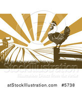 Vector Illustration of a Sunrise over a Brown Silhouetted Farm House with a Crowing Rooster and Fields by AtStockIllustration