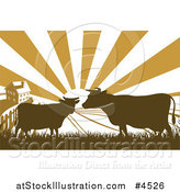 Vector Illustration of a Sunrise over a Brown Silhouetted Farm House with Cows and Fields by AtStockIllustration