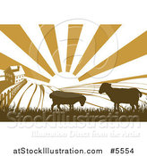 Vector Illustration of a Sunrise over a Brown Silhouetted Farm House with Sheep and Fields by AtStockIllustration