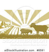 Vector Illustration of a Sunrise over a Brown Silhouetted Farm House with Two Sheep and Fields by AtStockIllustration