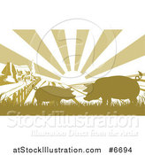 Vector Illustration of a Sunrise over a Brownish Green Farm House with Silhouetted Pigs and Fields by AtStockIllustration