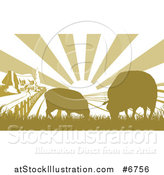 Vector Illustration of a Sunrise over a Cottage Farm House with Two Sheep and Fields by AtStockIllustration