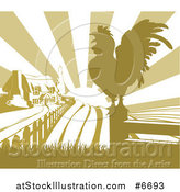 Vector Illustration of a Sunrise over a Green Farm House, a Silhouetted Crowing Rooster and Fields by AtStockIllustration