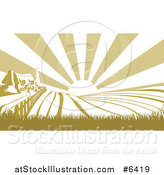 Vector Illustration of a Sunrise over a Green Silhouetted Farm House and Fields by AtStockIllustration