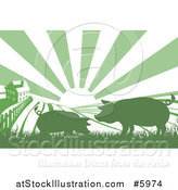 Vector Illustration of a Sunrise over a Green Silhouetted Farm House with Pigs and Fields by AtStockIllustration