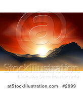 Vector Illustration of a Sunset over a Mountainous Landscape by AtStockIllustration