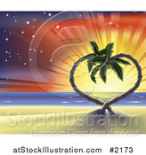 Vector Illustration of a Sunset Tropical Beach Scene of Heart Palm Trees by AtStockIllustration