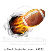 Vector Illustration of a Super Fast Flaming Football Flying Through a Wall - 3d Style by AtStockIllustration
