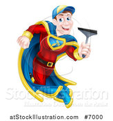 Vector Illustration of a Super Hero Brunette White Male Window Cleaner Running with a Squeegee by AtStockIllustration