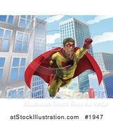 Vector Illustration of a Super Hero Man in Flight in a City by AtStockIllustration