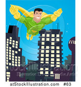 Vector Illustration of a Super Hero Man to the Rescue, Flying Through a City by AtStockIllustration