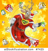 Vector Illustration of a Super Hero Rudolph Red Nosed Reindeer Running in a Cape over a Star and Gift Burst by AtStockIllustration