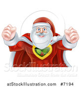 Vector Illustration of a Super Hero Santa Claus Flexing His Bicep Muscles by AtStockIllustration