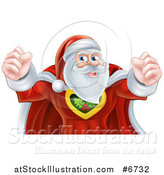 Vector Illustration of a Super Hero Santa Claus Flexing His Biceps by AtStockIllustration