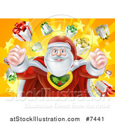 Vector Illustration of a Super Hero Santa Claus Flexing His Muscles in a Christmas Suit over a Star Burst with Gifts by AtStockIllustration