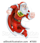 Vector Illustration of a Super Hero Santa Claus Running in a Christmas Suit and Cape by AtStockIllustration