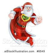 Vector Illustration of a Super Hero Santa Claus Running in a Christmas Suit by AtStockIllustration