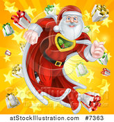 Vector Illustration of a Super Hero Santa Claus Running in a Christmas Suit over a Star Burst with Gifts 2 by AtStockIllustration