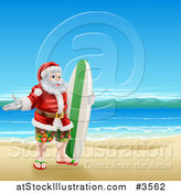 Vector Illustration of a Surfer Santa on a Beach by AtStockIllustration